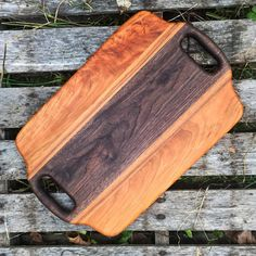 Cherry, Hickory, and Walnut serving tray Rustic Serving Trays, Kitchen Board, Small Wood Projects, Wood Cutting Boards, Chopping Boards, Wood Design, Wood Turning, Woodworking Projects, Woodworking Plans