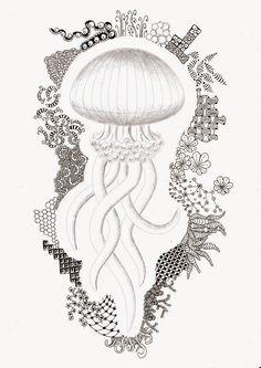 Efie goes Zentangle: jellyfish van Ben Kwok