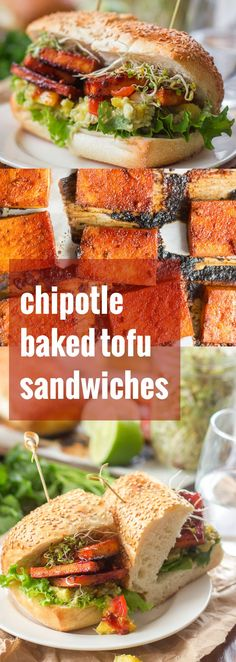 Smoky chipotle slathered tofu slices are baked up and piled onto crusty rolls with creamy pineapple guacamole to make these spicy vegan sandwiches.