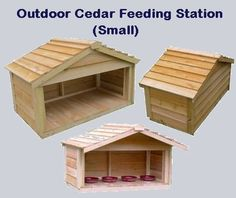 Outdoor Cedar Feeding Station - Small.  Each Feeding Station is individually hand crafted with the high quality workmanship and materials  you have come to expect from UnderCover Pet Houses Price $159.00 #outdoorcathouse #outsidecathouse #catoutsidehouse #cat #outdoor #outside #house
