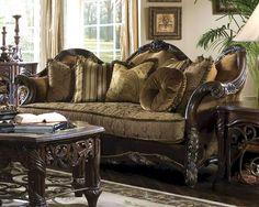 AICO Wood Trim Sofa Essex Manor AI-76815-DPBRN-57