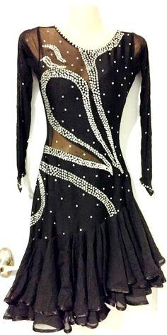 New Designer S/M Black Stone C' Thru Uneven Hem Ballroom Latin Competition Dress #Designermade