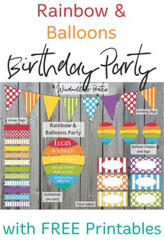 Free printables, ideas and inspiration for a Rainbow and Balloons themed birthday party. Rainbow and Balloons themed kids party Birthday Party Places, First Birthday Party Themes, Kids Party Themes, Diy Birthday, Party Ideas, Rainbow Balloons, Balloon Shapes, Diy Games, Party Entertainment