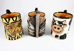 Personalized animal mugs! For milk, coffee or tea.
