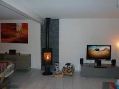 parement pierre pour poele a bois - Recherche Google Beautiful House Plans, Beautiful Homes, Living Area, Living Room, Wood Burner, Wall Cladding, Brick Fireplace, Sweet Home, New Homes