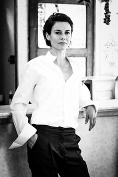 Model: Hélène Mahieu, white man's shirt, black trousers, Photography by Philippe Beheydt