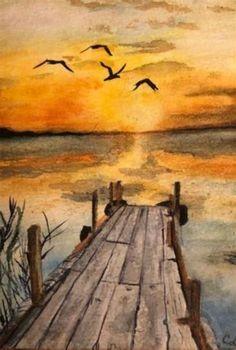 Watercolor Sunset, Watercolor Landscape Paintings, Watercolor Trees, Easy Watercolor, Watercolor Background, Abstract Watercolor, Watercolor Illustration, Tattoo Watercolor, Watercolor Animals