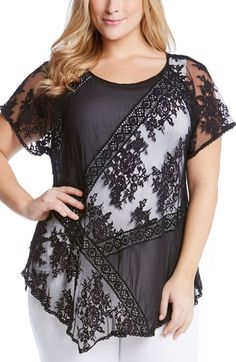 Karen Kane Mix Lace Panel Top (Plus Size) available at #Nordstrom