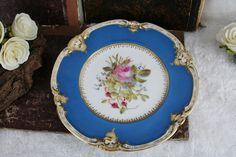 Gorgeous French 1950 hand paint floral plate in sevres porcelain n6