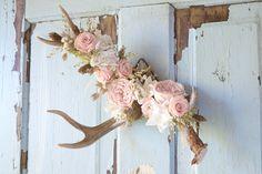 Natural Deer Antler w/ Preserved Flowers