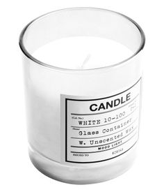 White unscented wax candle in a glass holder @ H & M £3.99 #home #decor #interiors
