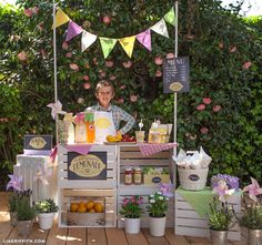 DIY How to Create a Lemonade Stand For Kids. Tutorial with all Decoration included. By Lia Griffith