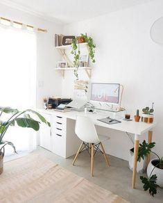 White Desk Designs for Minimalist Home Office - Desk Ideas for .White Desk Designs for Minimalist Home Office - Desk - Ideas for . cozyhomes White Desk Designs for Minimalist Home Office - Cozy Home Office, Home Office Space, Home Office Decor, Office Decorations, Office In Bedroom Ideas, At Home Office Ideas, Office Desks For Home, Small Office Desk, Modern Office Decor