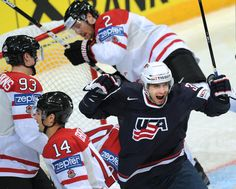 US Patrick Dwyer (R) celebrates after scoring against Canada during their preliminary round game of the IIHF International Ice Hockey World Championship in Helsinki on May 5, 2012