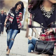 Zara Jacket, Zara Necklace, Mango Quilted Bag, H&M Long Black Shirt, Zara Chrystal Pumps