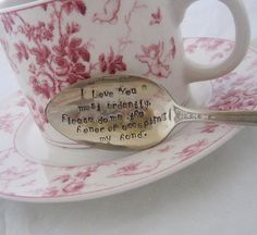 Pride and Prejudice Mr. Darcy Marriage Proposal - Upcycled Silverplate Hand Stamped Teaspoon