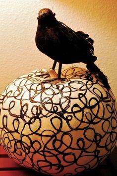 Blackbird Swirl Pumpkin by swelldesigner