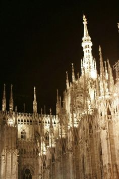 Duomo Cathedral Nightime Milan, Italy