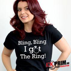 Tricou Mireasa, Personalizat pentru Petrecerea Burlacitelor cu mesajul Bling, Bling I Got The Ring! Bling Bling, Shower Ideas, Bridal Shower, T Shirts For Women, Rings, Fashion, Shower Party, Moda, Fashion Styles