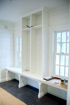 Vintage style farmhouse - perfect mudroom idea, work around the existing windows. Mudroom Laundry Room, Mudroom Cubbies, Vintage Stil, Built Ins, Home Projects, Sweet Home, New Homes, House Design, Architecture