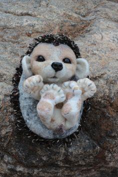 Needlefelted Woolen Baby Hedgehog by daitotorofelt on Etsy, $59.00