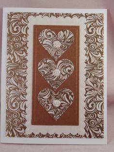 Uniquely Me: Golden filligree hearts card