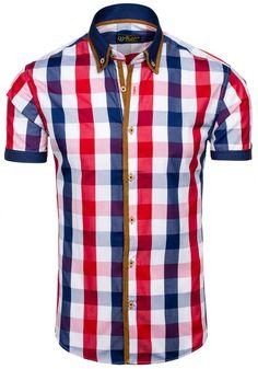 Pánská košile BOLF 5507-1 červená ČERVENÁ   Pánská móda \ Pánské košile \ Košile krátký rukáv Pánská móda \ Pánské košile \ kárované Premium Casual Przecena 15%   Bolf - Internetový Obchod s Oblečením   Oděv   Oblečení   Kabáty   Bundy