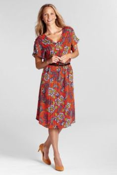 Women's Short Sleeve Pattern Georgette Pintuck Dress from Lands' End (on sale now -- marked down from $98. to $32.99)