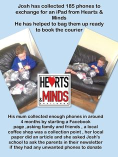 How Josh's mum collected 185 phones in 4 months Heart And Mind, 4 Months, Mobile Phones, Friends Family, Ipad, Books, Collection, Libros, Book