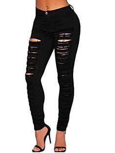NINGMI Tall Waist Leggings Ripped Hole Denim Jeans Slit Trousers Pencil Pants: Amazon.co.uk: Clothing