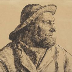 One of the most portrayed locals from Skagen, fisherman Ole Svendsen as sketched by Michael Ancher, 1884. #michaelancher #skagen