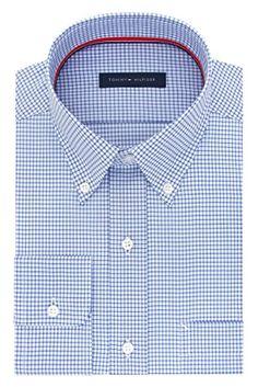 Tommy Hilfiger Men's Non Iron Regular Fit Mini Check Buttondown Collar Dress Shirt Review