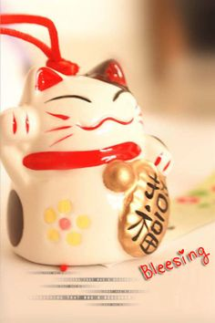 Maneki Neko *Lucky Cat*  Lovely Ceramic Hand-made Wind Chimes -Mascot- Car/Door Pendant Chris gift / B-day gift