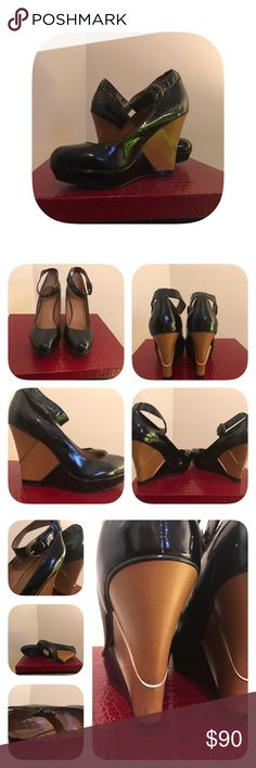 "⭐️Newly listed⭐️ B. Makowsky wedge heel 9.5 NWT B. Makowsky black patent and camel colored wedge heel with ankle strap size 9.5. Minor scuff/ marks on heel and toe. Gorgeous shoes! 4.5"" heel. b. makowsky Shoes Wedges"