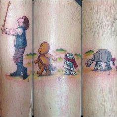 Star wars Han solo and Disney Winnie the Pooh mash-up tattoo