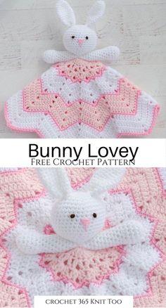 Crochet Lovey Free Pattern, Bunny Crochet, Easy Crochet Blanket, Crochet Blanket Patterns, Crochet Dolls, Knitting Patterns, Lovey Blanket, Baby Patterns, Crochet Security Blanket