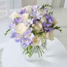 Classic Rose and Freesia September Wedding Flowers, Purple Wedding Flowers, Flower Centerpieces, Wedding Centerpieces, Flower Arrangements, Amazing Flowers, Pretty Flowers, Bridesmaid Bouquet, Wedding Bouquets