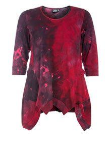 Entree Batik shirt with tapered hemline in Wine-Red / Black