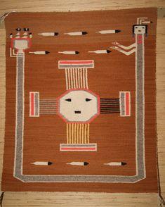 Navajo Sun Symbol Pictorial Weaving Weaving For Sale