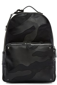 Valentino - Black Leather & Canvas Camouflage Backpack