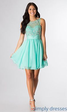 Shop SimplyDresses for sleeveless beaded short dresses. Short sleeveless beaded party dresses and semi-formal dresses for homecoming or prom.