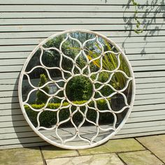 For the indoors, outside look you can't beat this stunning round garden mirror. A stylised flower design makes this large mirror a real statement piece for a terrace to create a feeling of light and space and reflect the surrounding area. Mirrors are a gr Garden Mirrors, Garden Wall Art, Mirrors In Gardens, Outdoor Mirrors Garden, Garden Nook, Garden Walls, Outdoor Art, Outdoor Walls, Planting Bulbs In Spring
