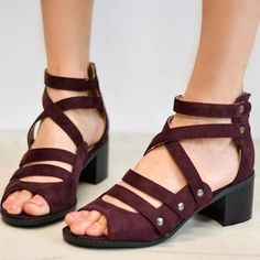Multi-Strap Heeled Sandals Peep Toe Woman Shoes Comfortable Strappy PU Leather Cute Zip High Heels Thick Rivet Solid Gladiator Plus Size Peep Toes, Peep Toe Heels, Strap Heels, Strap Sandals, Heeled Sandals, Sandal Heels, Leather Sandals, Ankle Strap, Shoes Sandals
