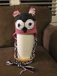 Grey and pink owl ear flap hat