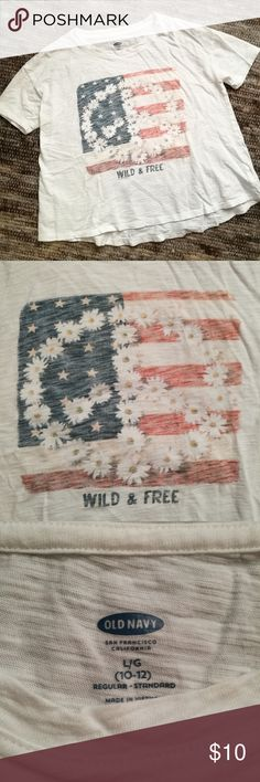 America peace sign t shirt Very cute t shirt with American flag and daisies! Perfect for 4th of July! Very gently worn maybe once, size large 10-12 in girls, but I wore this almost as a crop top and I'm a size XS in women's or juniors. Old Navy Tops Tees - Short Sleeve