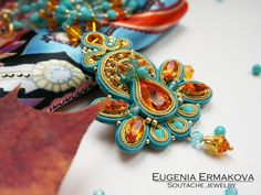 Soutache pendant with Swarovski Soutache necklace от JaneEJewelry