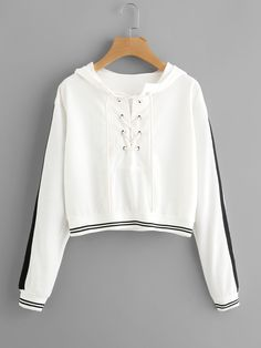 Shop Eyelet Lace Up Stripe Trim Hoodie online. SheIn offers Eyelet Lace Up Stripe Trim Hoodie & more to fit your fashionable needs. White Hooded Sweatshirt, Crop Top Hoodie, White Hoodie, Cropped Hoodie, Hooded Sweatshirts, Crop Top Outfits, Mode Outfits, Trendy Outfits, Fashion Outfits