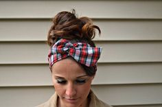 Red Plaid dolly bow Head band.. Sewn folded about 31 1/2 long with wiring inside for easy adjusting.