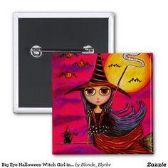 Big Eye Halloween Witch Girl in Stripes Black Cat