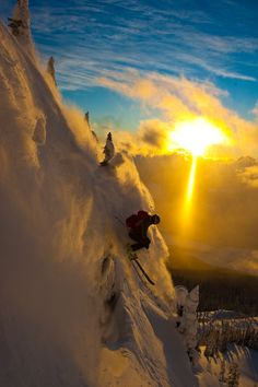 Beautiful sunset skiing